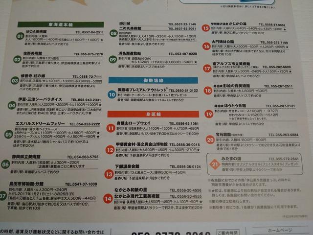 休日乗り放題きっぷ提携施設割引券使える施設JR東海