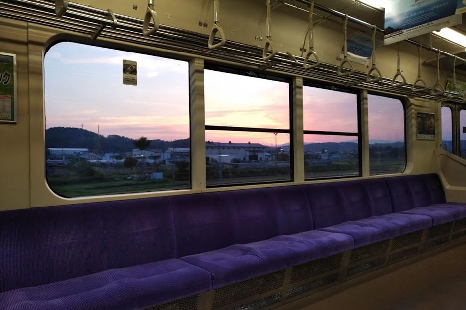 東北本線の夕日