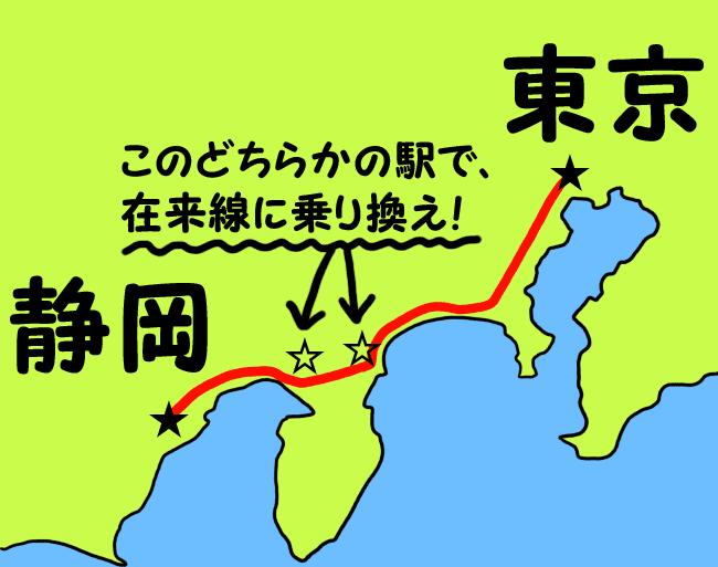 途中まで特急で静岡へ