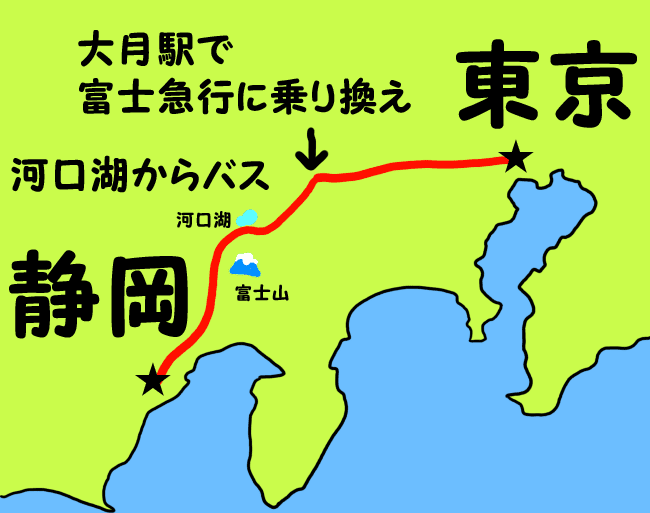 河口湖からはバスで静岡へ